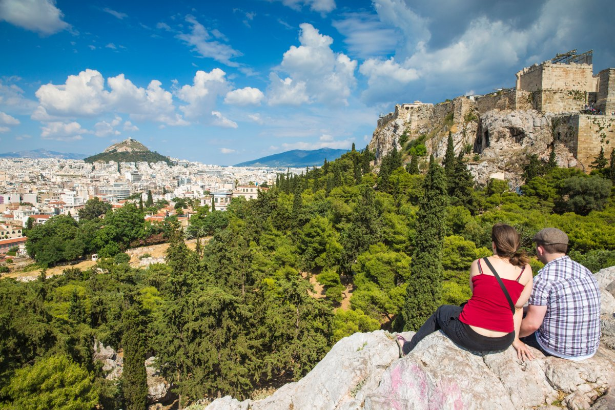 Areopagus rock in Athens, Greece. Athens is one of four European destinations that Canadians are looking to travel to this summer, according to Kayak.