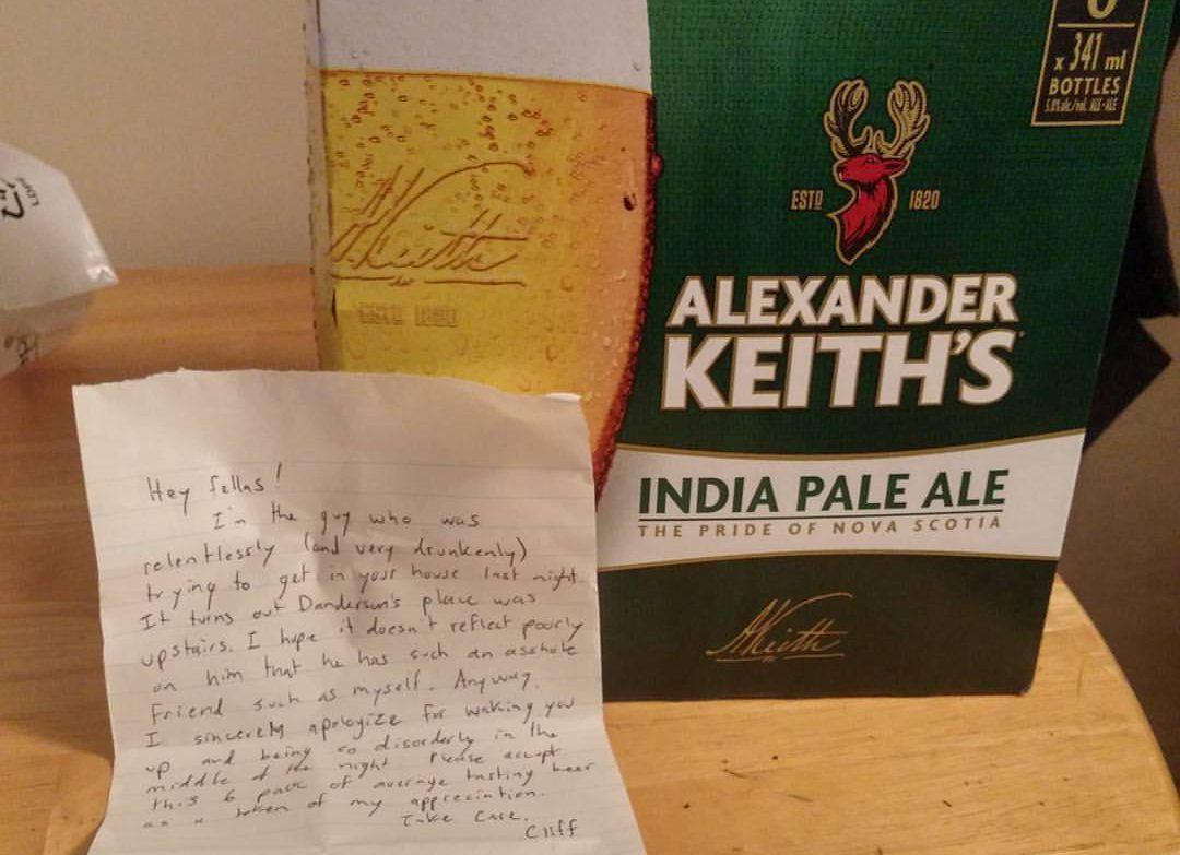 After an attempted break in at her North End apartment, Caitlynne Hines returned home to find a case of Keith's on her step as an apology.