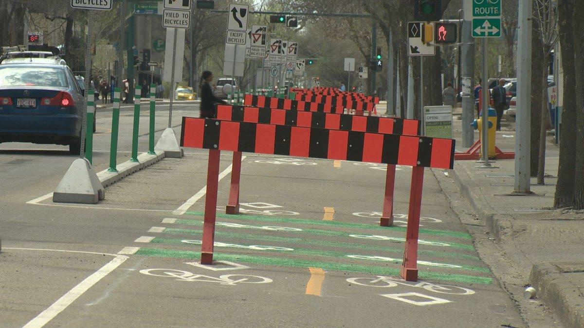 New bike lanes in downtown Edmonton, May 10, 2017.