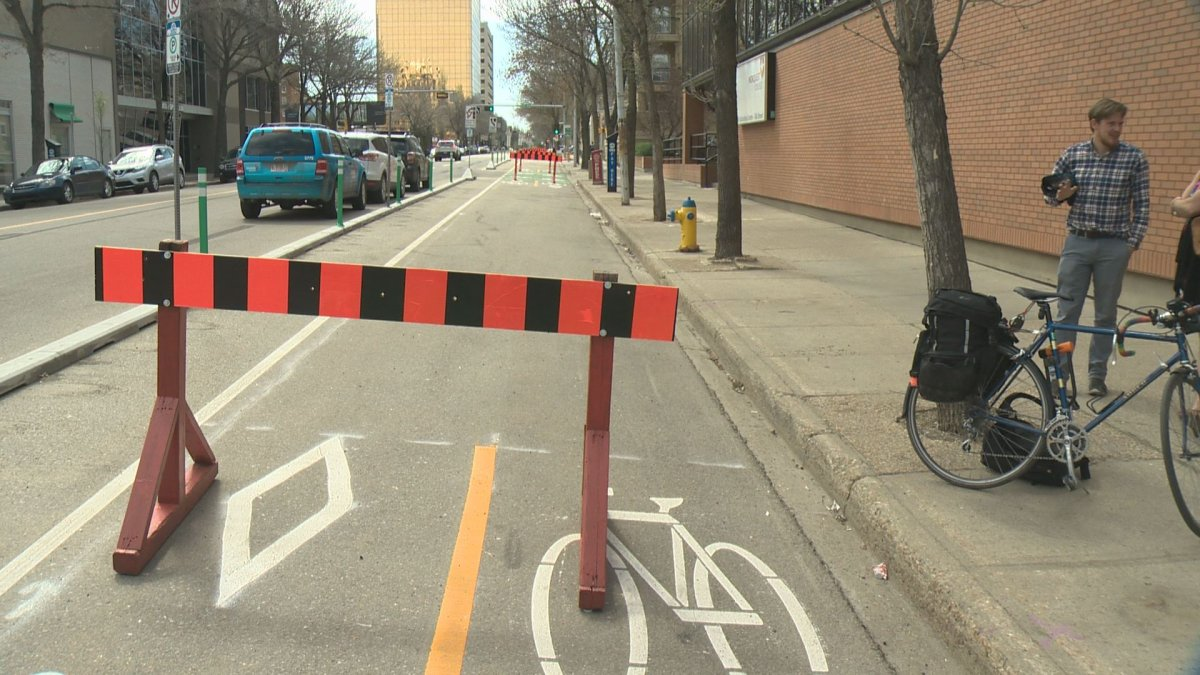 New bike lanes in downtown Edmonton, May 10, 2017.