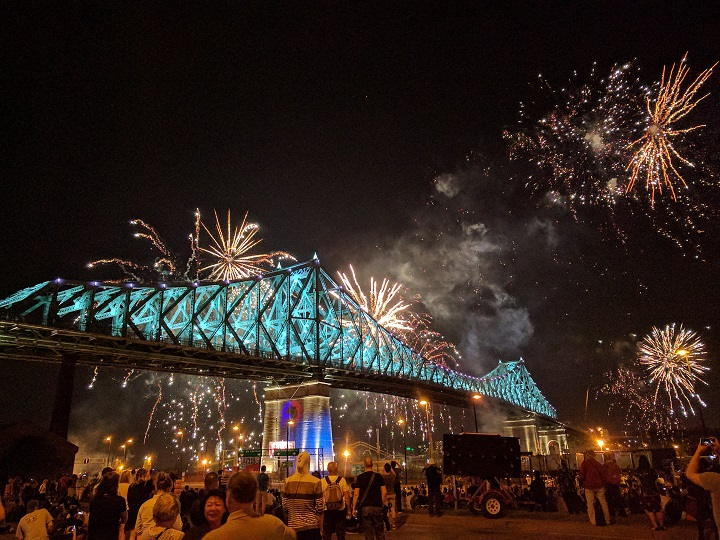 The Jacques Cartier Bridge is lit up to celebrate Montreal's 375th birthday on Wednesday, May 17, 2017.