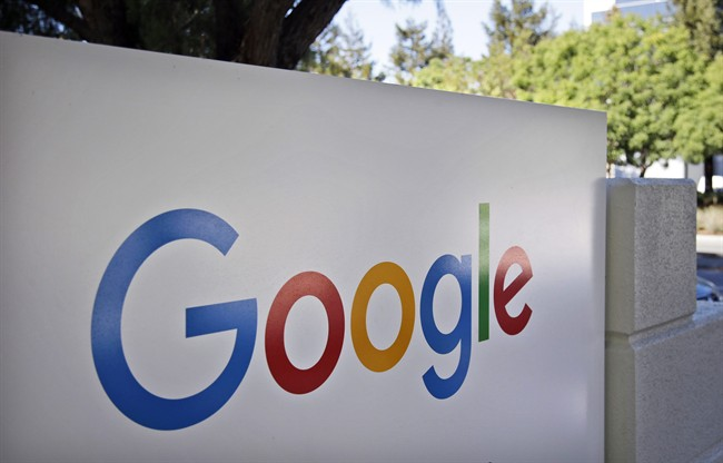 FILE - This Oct. 20, 2015, file photo, shows a sign outside Google headquarters in Mountain View, Calif.