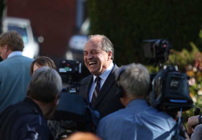 B.C. Green party leader Andrew Weaver is joined by elected party member Sonia Furstenau to speak to media in the rose garden following election results in Victoria, B.C., on Wednesday, May 14, 2017. British Columbia entered a new stage of political uncertainty Wednesday as the final vote count from an election held more than two weeks ago confirmed the province's first minority government in 65 years. But with the balance of power firmly in his grasp, Green Leader Andrew Weaver indicated he wants to end the confusion that has gripped the province since May 9 by trying to reach a deal with either the Liberals or the NDP on a minority government by next Wednesday.