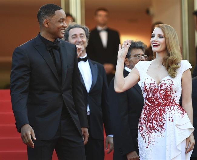 Jury members Will Smith, left, and Jessica Chastain pose for photographers upon arrival at the award ceremony at the 70th international film festival, Cannes, southern France, Sunday, May 28, 2017.