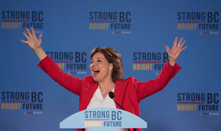B.C. Liberal leader Christy Clark waves to the crowd following the B.C. Liberal election in Vancouver, B.C., Wednesday, May 10, 2017.