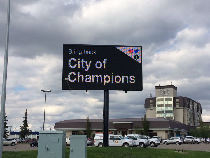 """A series of 15 billboards touting Edmonton as a """"City of Champions"""" began popping up through the city in early May."""