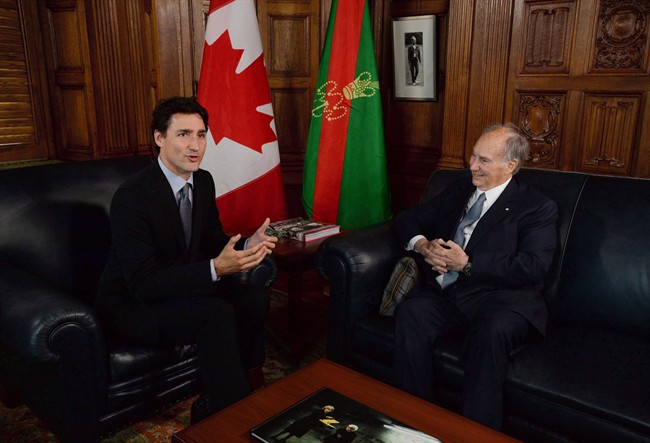 Prime Minister Justin Trudeau meets with the Aga Khan on Parliament Hill in Ottawa on Tuesday, May 17, 2016.