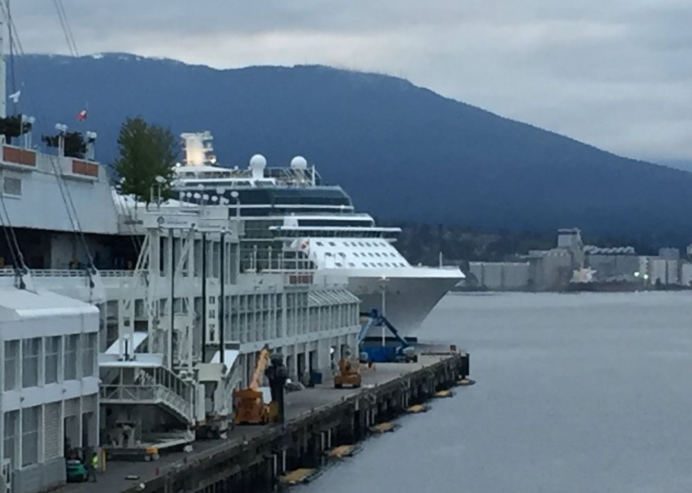 One of the cruise ships arriving in Vancouver on Wednesday.