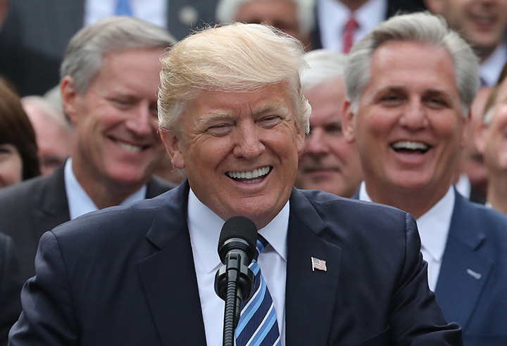 U.S. President Donald Trump speaks in the Rose Garden of the White House in Washington, May 4, 2017.