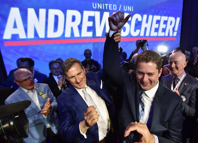 Andrew Scheer, right, is congratulated by Maxime Bernier after being elected the new leader of the federal Conservative Party last week.