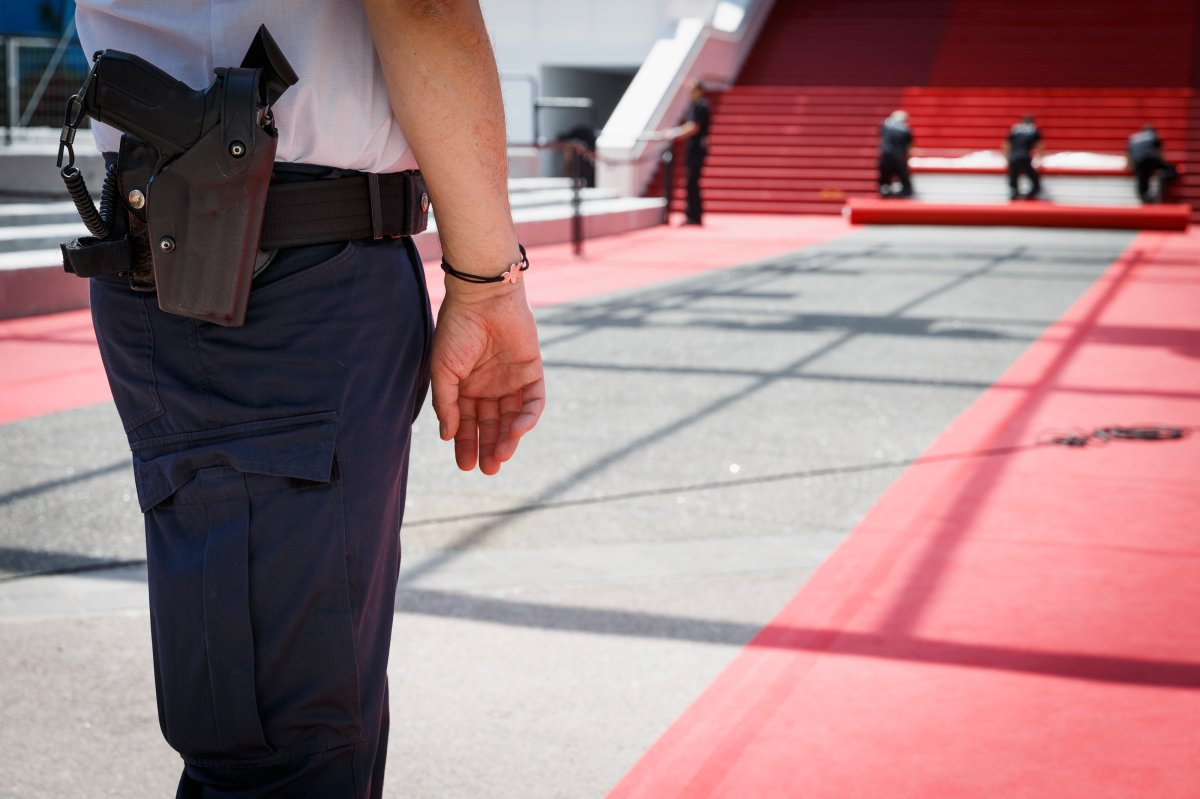 Security personnel during the 69th annual Cannes Film Festival in May 2016 in Cannes, France.