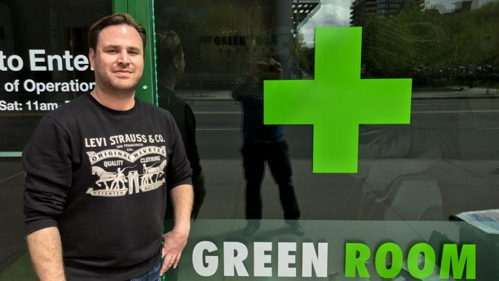 The Green Room Society president and CEO Frederick Pels stands outside a newly opened location in Calgary's Beltline neighbourhood.