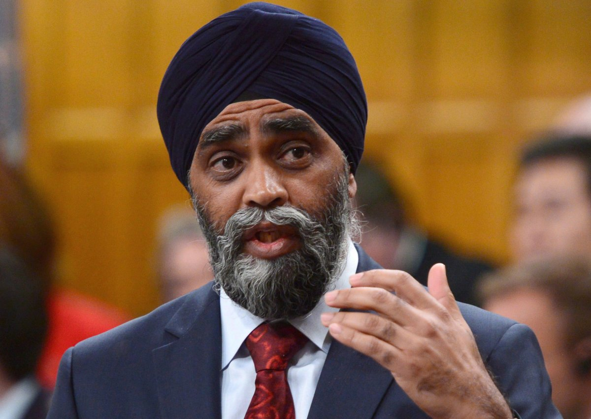 Minister of National Defence Minister Harjit Sajjan responds to a question during Question Period in the Hosue of Commons on Parliament Hill in Ottawa on Monday, May 15, 2017.
