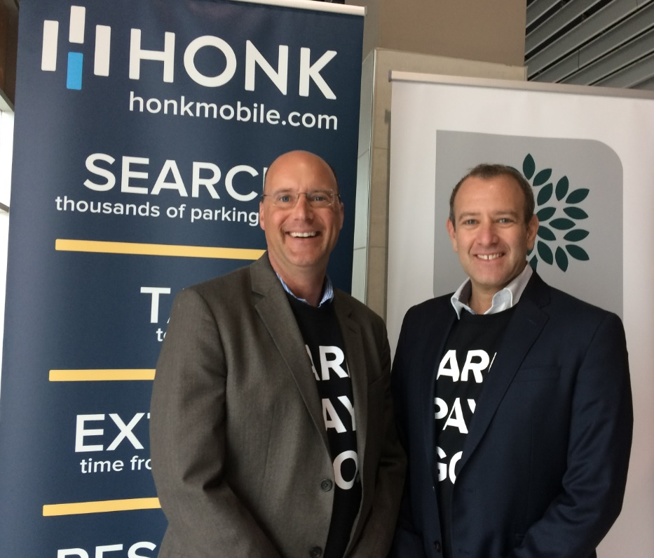 Mayor Matt Brown and HonkMobile CEO Michael Back celebrate the launch of the app in London on May 4, 2017.