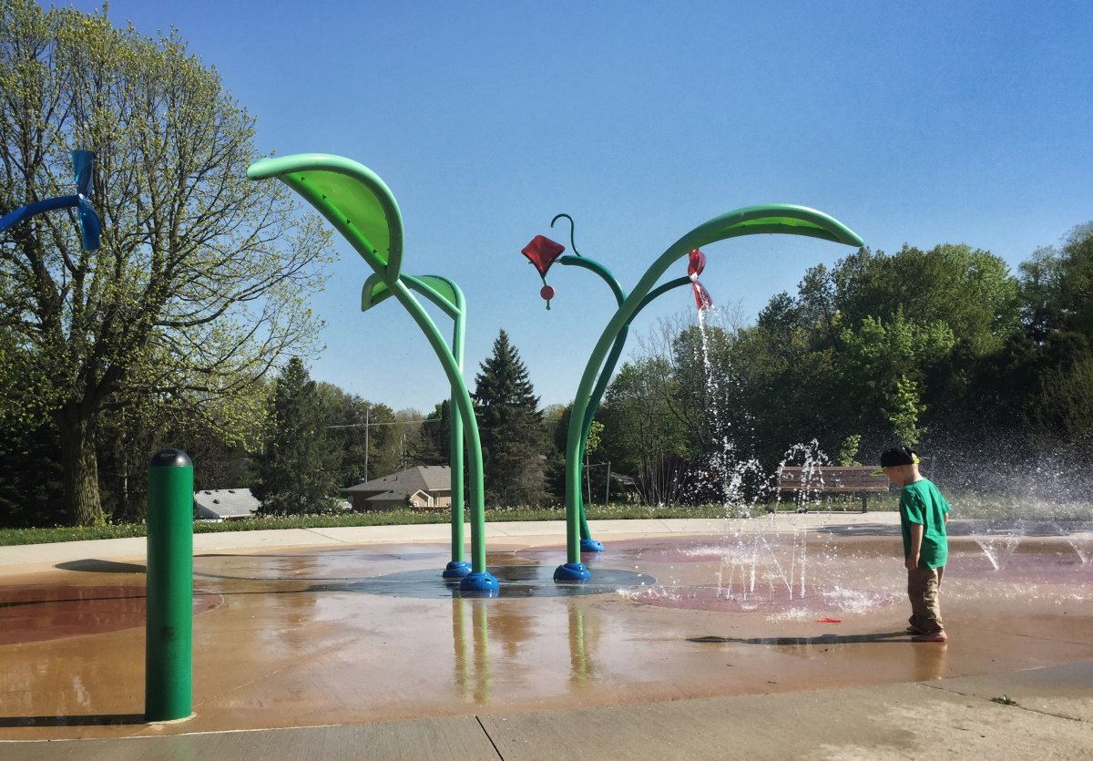 The spray pad at Oakridge Park is back in action on May 16, 2017 in London, Ont.