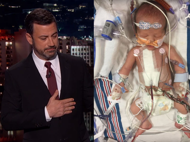 Jimmy Kimmel chokes up as he talks about his newborn son Billy's heart condition.