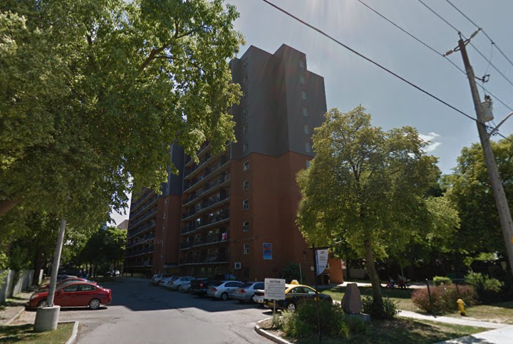 A London and Middlesex Community Housing apartment building at 241 Simcoe St. in London, Ont.