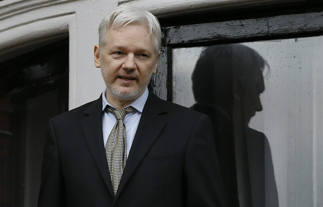 WikiLeaks founder Julian Assange speaks from the balcony of the Ecuadorean Embassy in London.