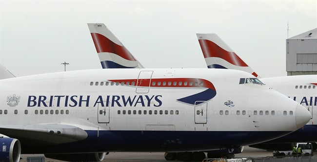 FILE -- In this Tuesday, Jan. 10, 2017 file photo, British Airways planes are parked at Heathrow Airport.