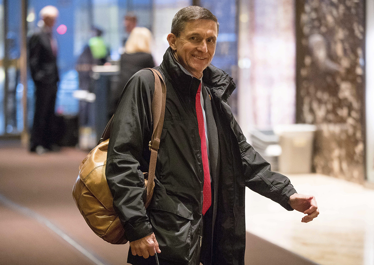 In this Jan. 3, 2017, file photo, Michael Flynn, then - President-elect Donald Trump's nominee for National Security Adviser arrives at Trump Tower in New York.