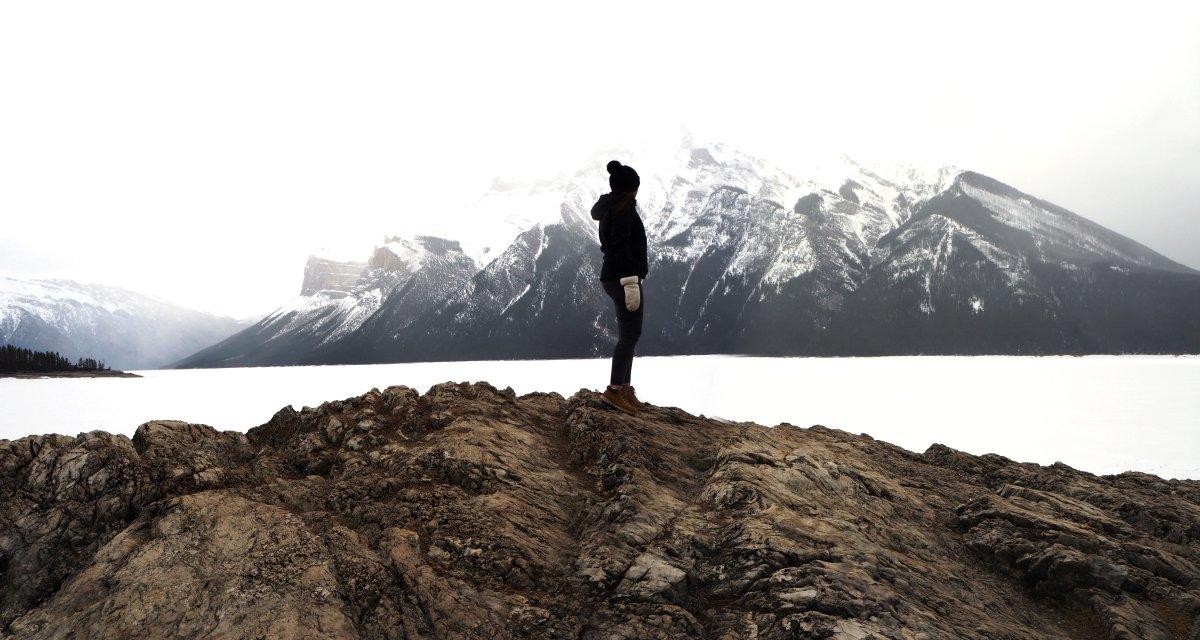 Liz Rudiger at Alberta's Lake Minnewanka.