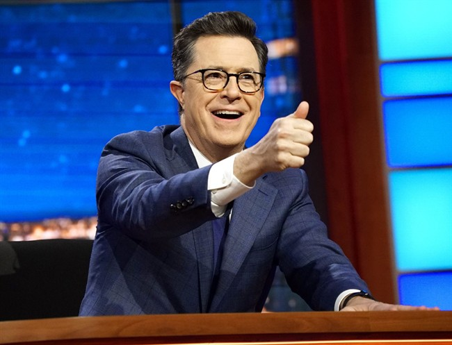 In this March 27, 2017 file photo, Stephen Colbert, host of 'The Late Show with Stephen Colbert,' appears during a taping of his show in New York City.