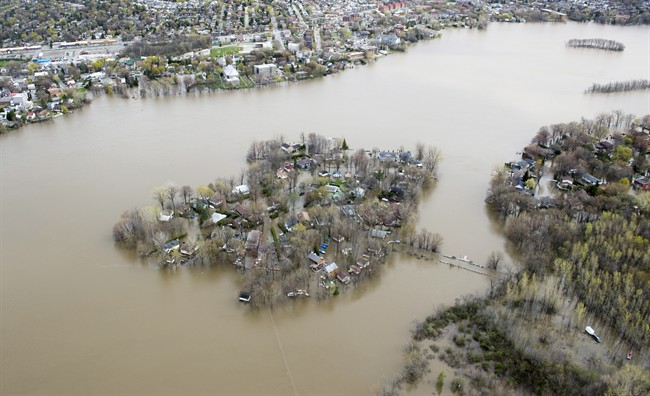 Ile Mercier covered in floodwater is seen on the Riviere des Prairies on the north part of Montreal, Monday, May 8, 2017. The bridge leading to the island is closed with its residents evacuated.