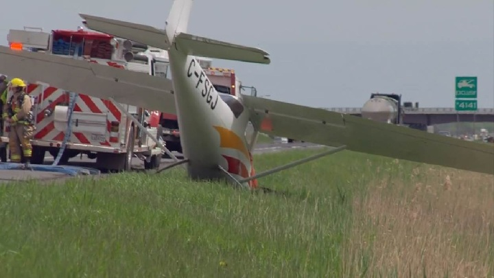 A small plane disrupted traffic on Quebec's Highway 20 East near Saint-Mathieu-de-Beloeil after making an emergency landing on the road. Sunday, May 21, 2017.