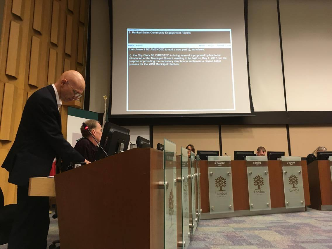 Counc. Michael Van Holst addresses council during a two-and-a-half debate regarding ranked ballot voting in London Council Chambers, May 1st 2017.