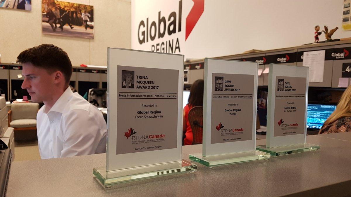 The three awards Global Regina won at the RTDNA National Award Gala.