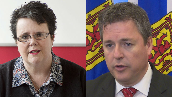 Former community services minister Joanne Bernard, left, and energy minister Michel Samson were two Liberal ministers who lost their seats in the Nova Scotia 2017 election.