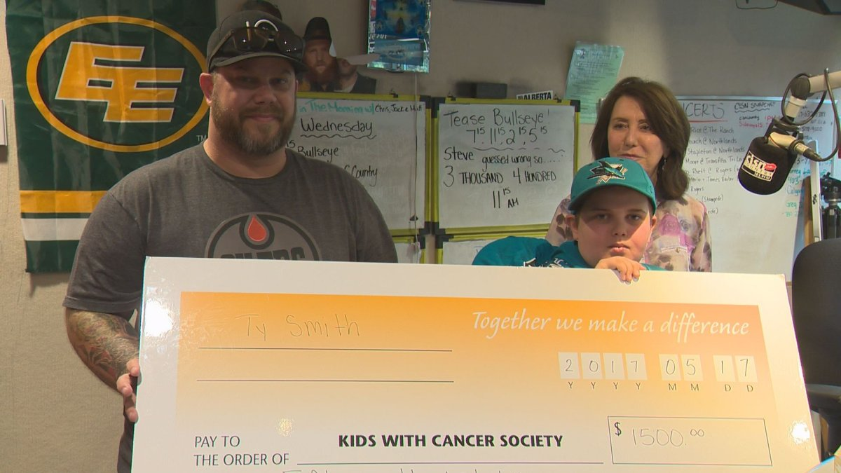 Ty Smith donates $1,500 to the Kids with Cancer Society after being bullied at Edmonton Oilers playoff game for being a San Jose Sharks fan, Wednesday, May 17, 2017.