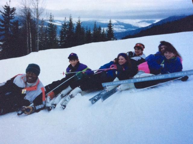 Global Winnipeg's Lauren McNabb (centre, red hair) on a childhood ski trip.