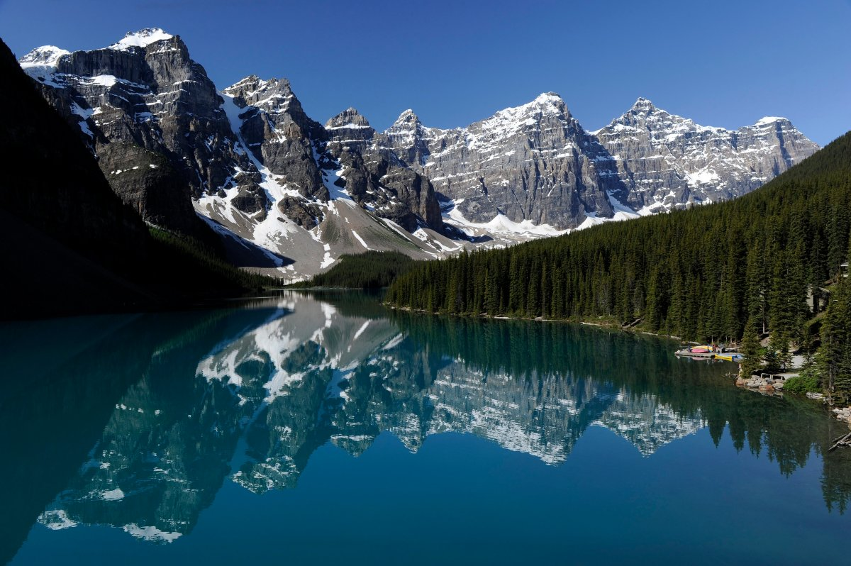 Moraine Lake in the Valley of the Ten Peaks in Banff National Park near Lake Louise, Alta.