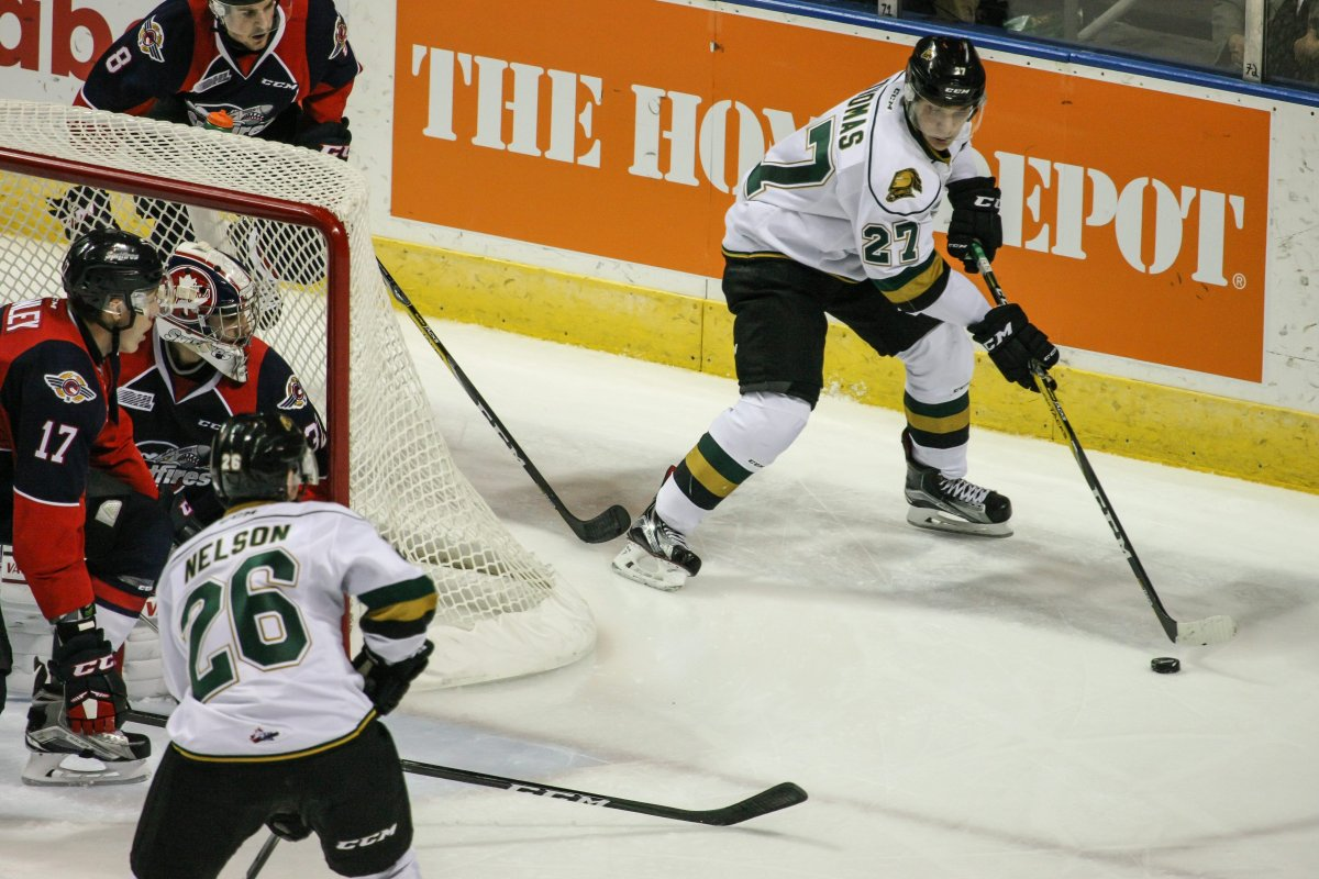 Ontario Hockey League (OHL) game action between the London Knights and the Windsor Spitfires, London, Ont., Oct., 14, 2016. The Knights defeated the Spitfires by a score of 4-0. THE CANADIAN PRESS IMAGES/Mark Spowart.