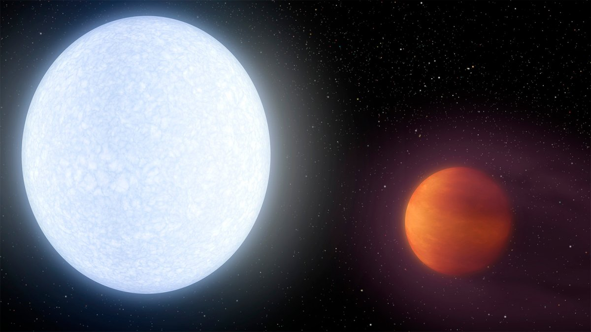 An artist's rendering of super-heated planet KELT-9b and its parent star. It is the hottest gas giant planet discovered so far.