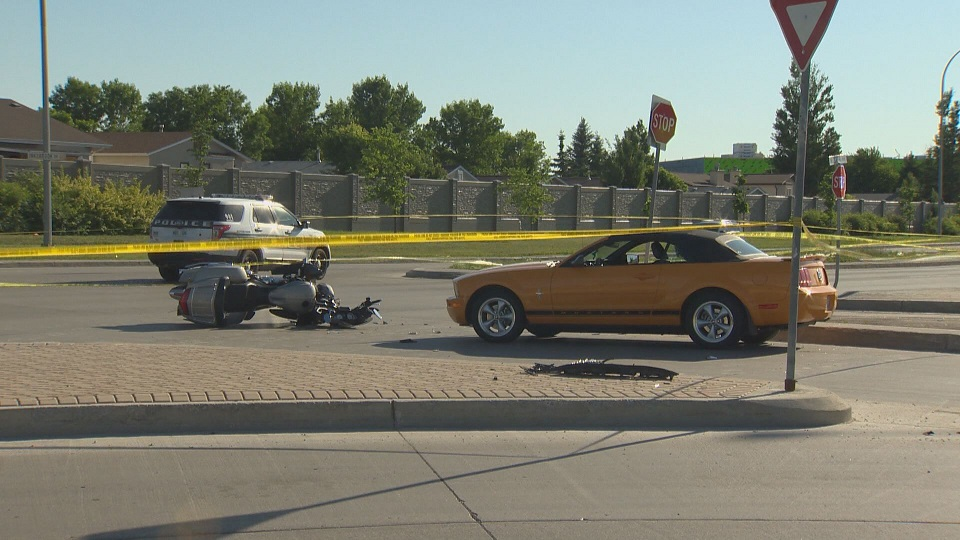 A motorcycle crash Monday evening sent one person to hospital.