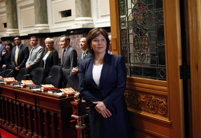 B.C. Premier Christy Clark waits before officially being sworn-in during a ceremony at Legislature in Victoria, B.C., on Thursday, June 8, 2017.
