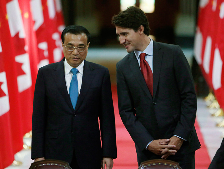 Chinese Premier Li Keqiang and Prime Minister Justin Trudeau pictured on Parliament Hill in Ottawa, Thursday, September 22, 2016.