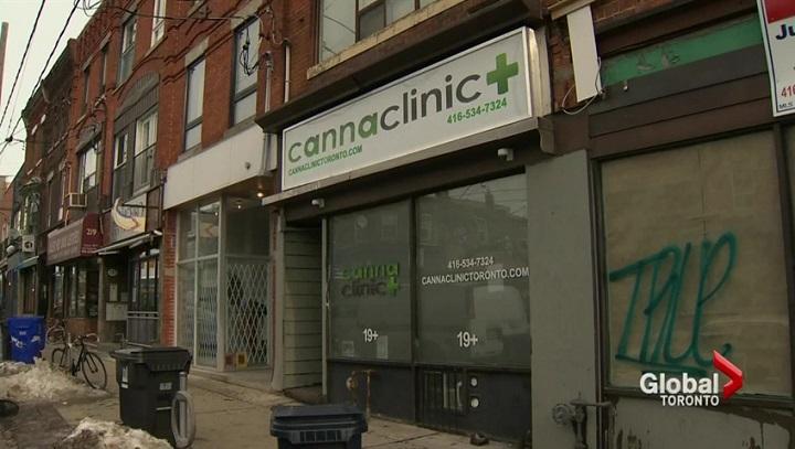 A Canna Clinic marijuana dispensary is seen at 213 Ossington Ave. in Toronto on Dec. 23, 2016.