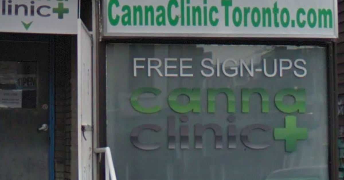 Storefront of the Canna Clinic outlet in Kensington Market.