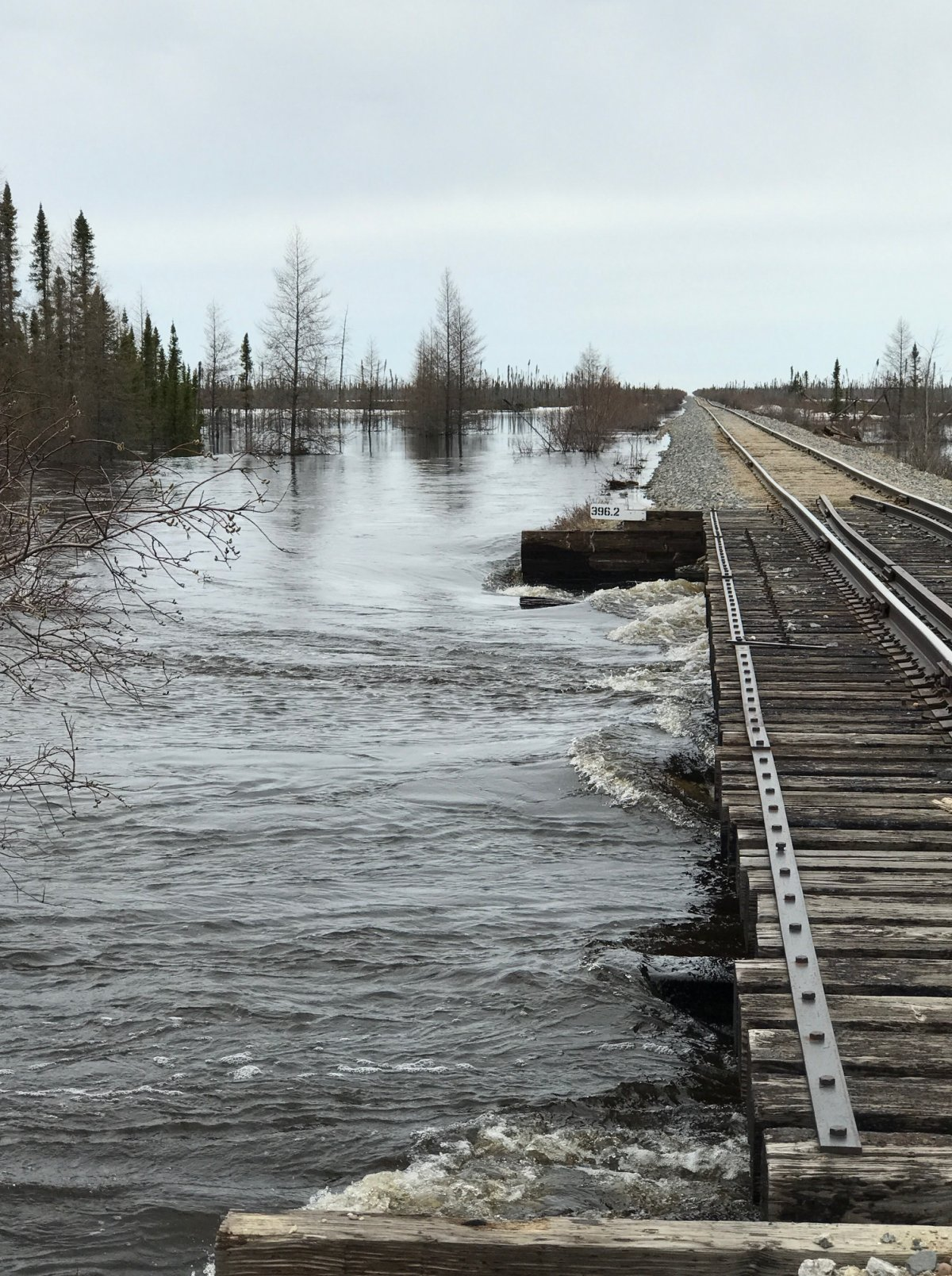 Flood waters have caused extensive damage to much of the railway that provides supplies to Churchill.