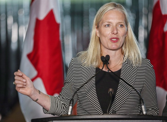 Environment minister Catherine McKenna speaks at an announcement regarding the Pan-Canadian Framework on Clean Growth and Climate Change in Calgary, Alta., Thursday, May 25, 2017. President Donald Trump's decision to pull out of the Paris climate-change agreement is disappointing, but the world is marching inexorably towards a greener future with or without the United States, says Canada's environment minister.