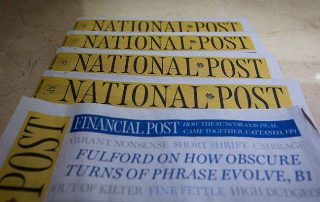 Postmedia-owned newspaper National Post are displayed.