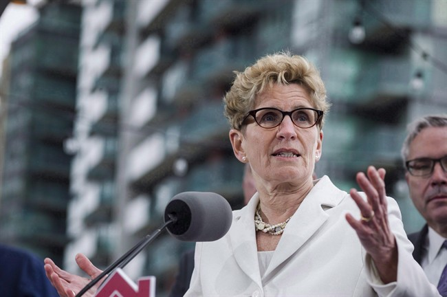 Ontario Premier Kathleen Wynne speaks during a press conference in Toronto on April 20, 2017.