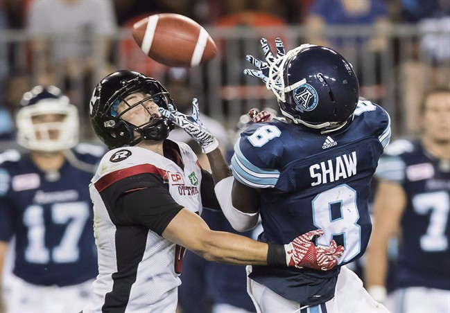 Toronto Argonauts Kenny Shaw (8) has a pass broken up by Ottawa Redblacks' Antoine Pruneau during the second half of CFL football action in Toronto, Wednesday July 13, 2016.