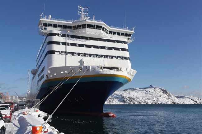 The new Marine Atlantic ferry, Blue Puttees, at dock in St. John's on Friday, Feb. 11, 2011.