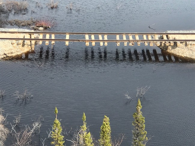Pictures who extensive damage to rail tracks heading to Churchill after flooding.