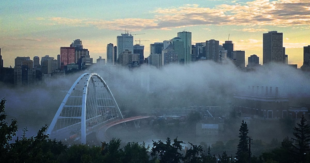 The downtown Edmonton skyline and the Walterdale Bridge in the North Saskatchewan River Valley on June 29, 2017.