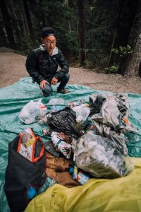 Vince Emond and Devan Francis (pictured) picked up 40 pounds of garbage while hiking Joffre Lakes.